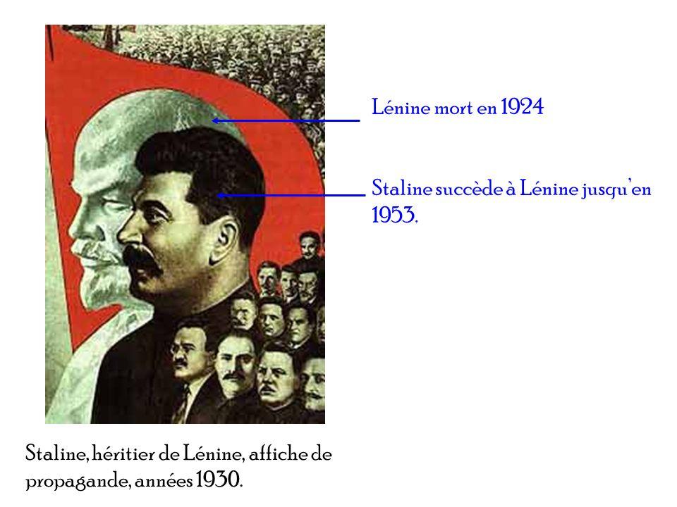 Staline, héritier de Lénine, affiche de propagande, années 1930. Lénine mort en 1924 Staline succède à Lénine jusquen 1953.