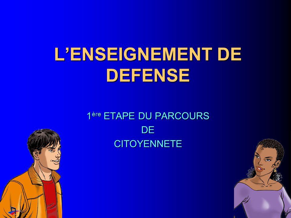 LENSEIGNEMENT DE DEFENSE 1 ère ETAPE DU PARCOURS DECITOYENNETE