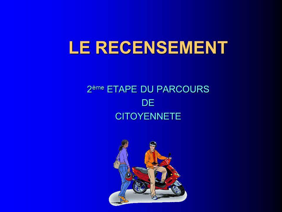LE RECENSEMENT 2 ème ETAPE DU PARCOURS DECITOYENNETE