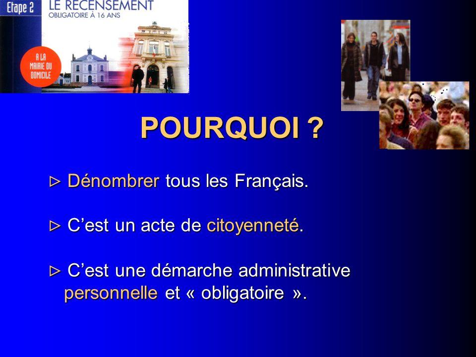 POURQUOI ? Dénombrer tous les Français. Dénombrer tous les Français. Cest un acte de citoyenneté. Cest un acte de citoyenneté. Cest une démarche admin