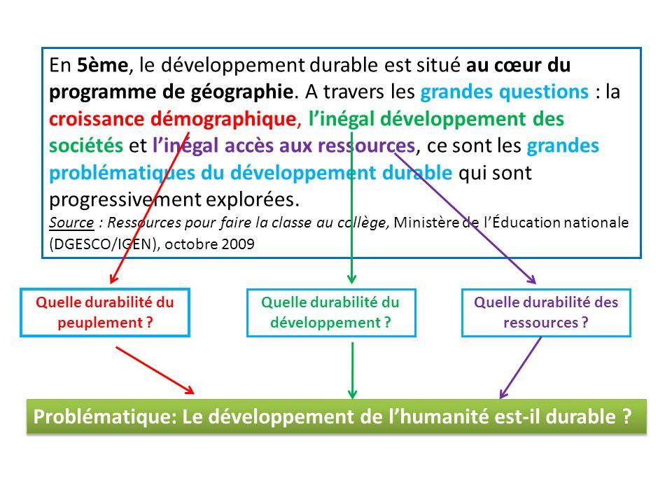 En 5ème, le développement durable est situé au cœur du programme de géographie.