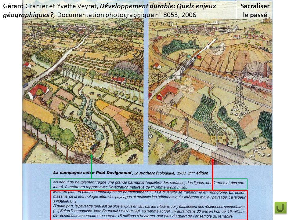 Sacraliser le passé, La synthèse écologique, 1980, 2 ème édition Gérard Granier et Yvette Veyret, Développement durable: Quels enjeux géographiques ?, Documentation photographique n° 8053, 2006