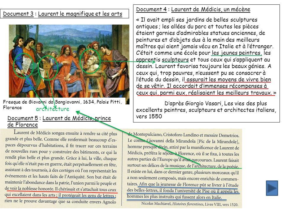 Document 3 : Laurent le magnifique et les arts Fresque de Giovanni da Sangiovanni, 1634, Palais Pitti, Florence Document 4 : Laurent de Médicis, un mé