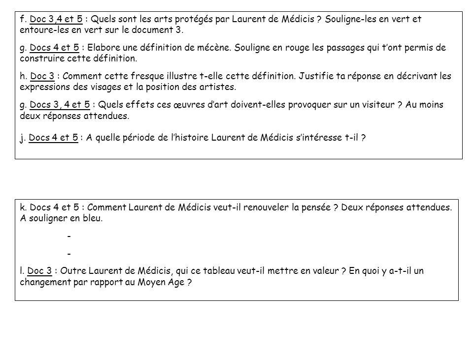 f. Doc 3,4 et 5 : Quels sont les arts protégés par Laurent de Médicis ? Souligne-les en vert et entoure-les en vert sur le document 3. g. Docs 4 et 5