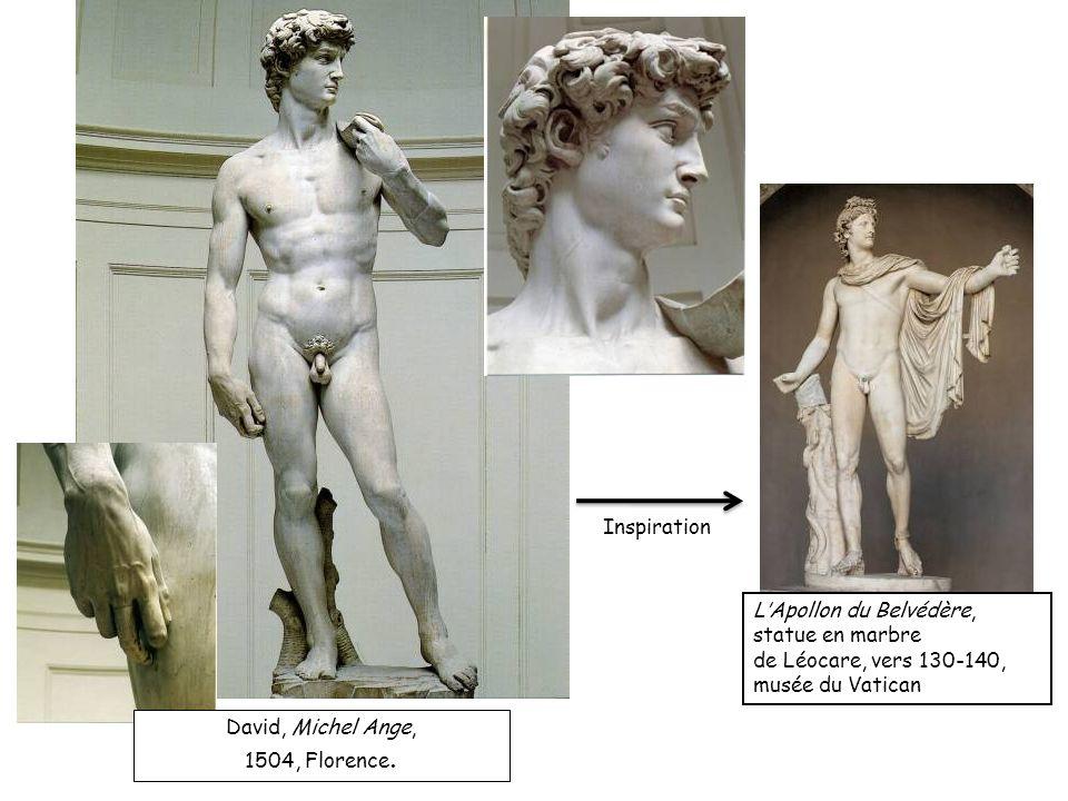 LApollon du Belvédère, statue en marbre de Léocare, vers 130-140, musée du Vatican David, Michel Ange, 1504, Florence. Inspiration