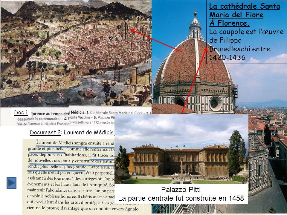 Doc 1 Document 2: Laurent de Médicis, prince de Florence Vue de florence dite « Vue de la Chaîne », attribuée à Francesco Rosselli, gravée vers 1472,