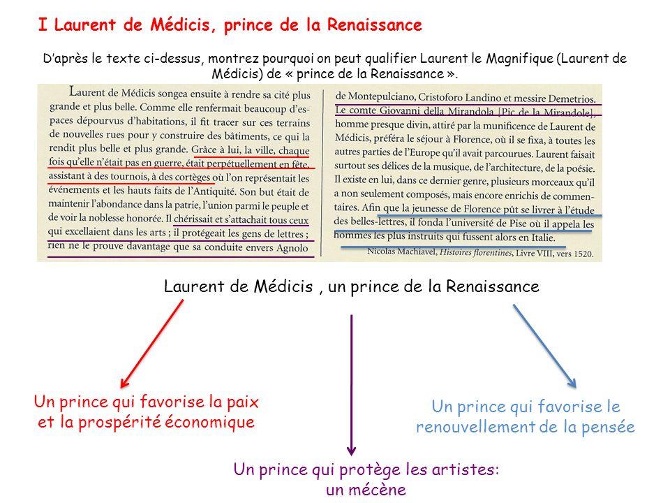 Laurent de Médicis, un prince de la Renaissance Un prince qui favorise la paix et la prospérité économique Un prince qui protège les artistes: un mécè