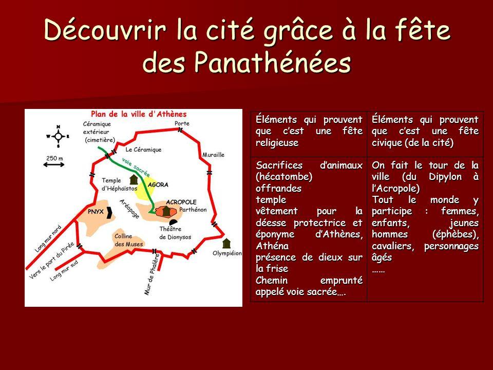 Découvrir la cité grâce à la fête des Panathénées Éléments qui prouvent que cest une fête religieuse Éléments qui prouvent que cest une fête civique (