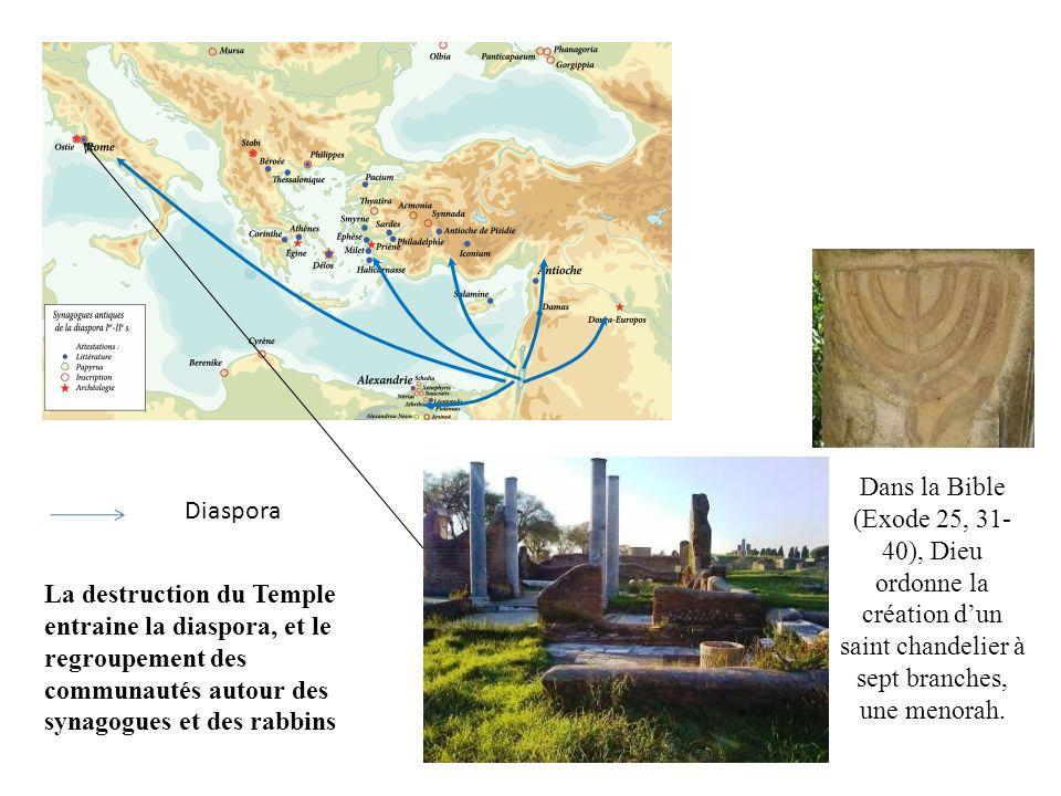 La destruction du Temple entraine la diaspora, et le regroupement des communautés autour des synagogues et des rabbins Dans la Bible (Exode 25, 31- 40), Dieu ordonne la création dun saint chandelier à sept branches, une menorah.