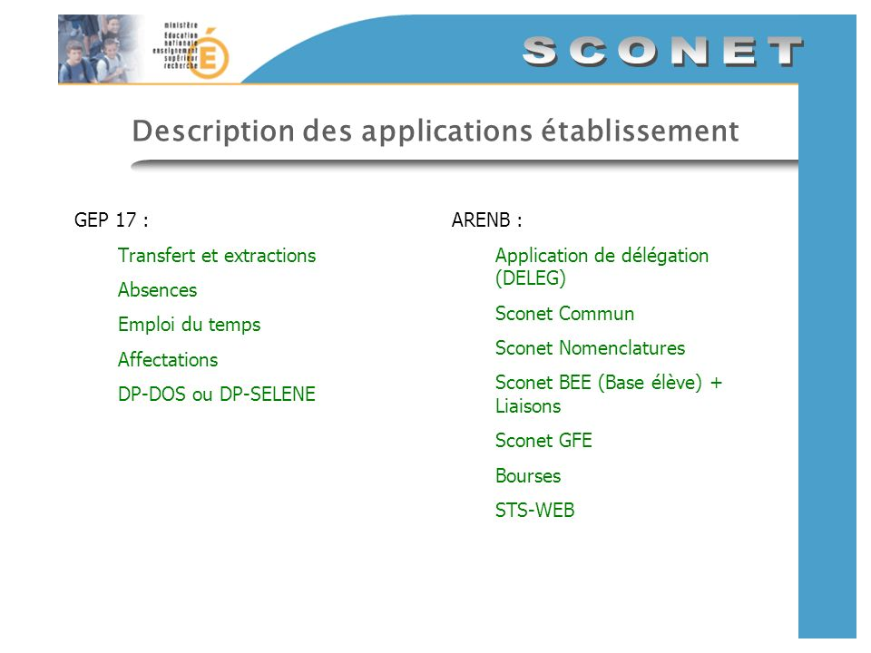 Description des applications établissement GEP 17 : Transfert et extractions Absences Emploi du temps Affectations DP-DOS ou DP-SELENE ARENB : Application de délégation (DELEG) Sconet Commun Sconet Nomenclatures Sconet BEE (Base élève) + Liaisons Sconet GFE Bourses STS-WEB
