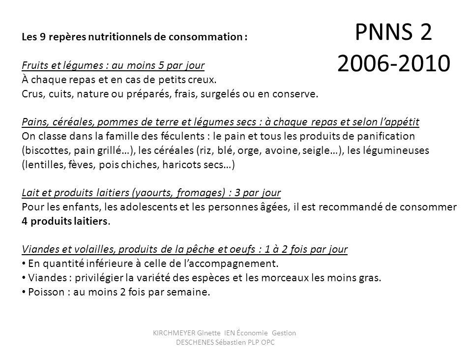 KIRCHMEYER Ginette IEN Économie Gestion DESCHENES Sébastien PLP OPC PNNS 2 2006-2010 Les 9 repères nutritionnels de consommation : Fruits et légumes :