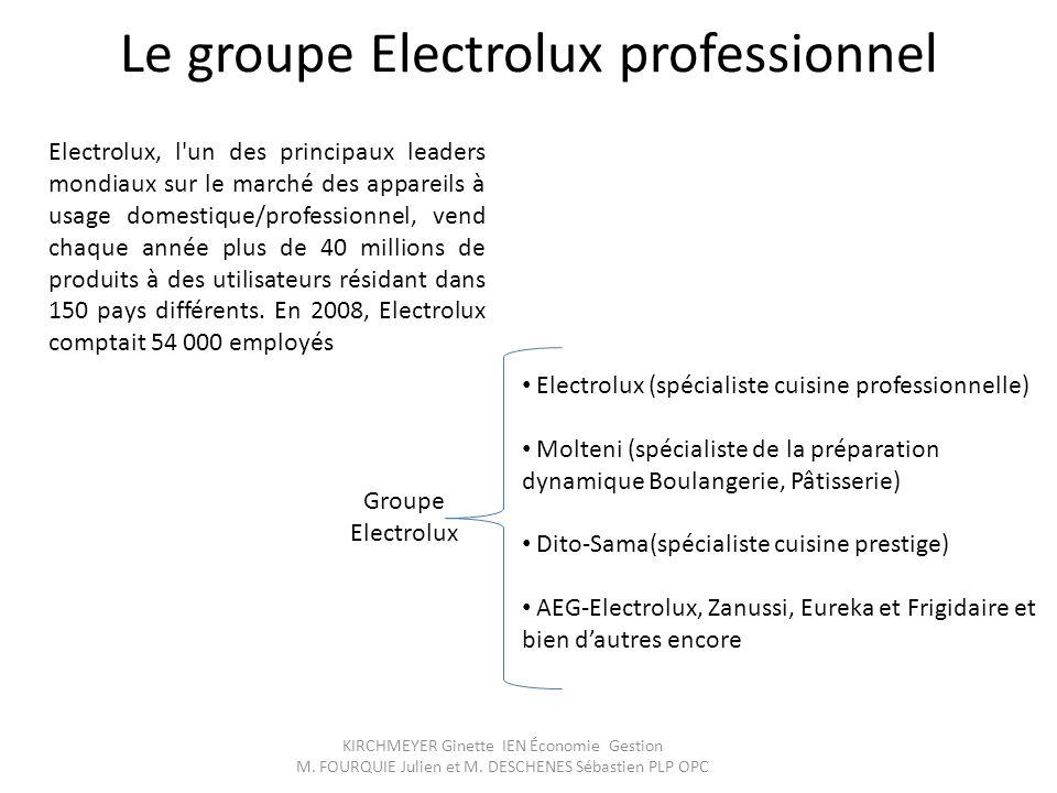 KIRCHMEYER Ginette IEN Économie Gestion M. FOURQUIE Julien et M. DESCHENES Sébastien PLP OPC Le groupe Electrolux professionnel Electrolux, l'un des p