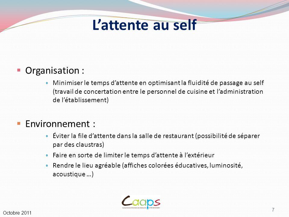 18 II. Qualité organoleptique des plats Octobre 2011