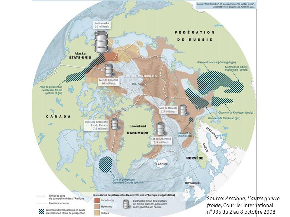 Source: Arctique, Lautre guerre froide, Courrier international n°935 du 2 au 8 octobre 2008