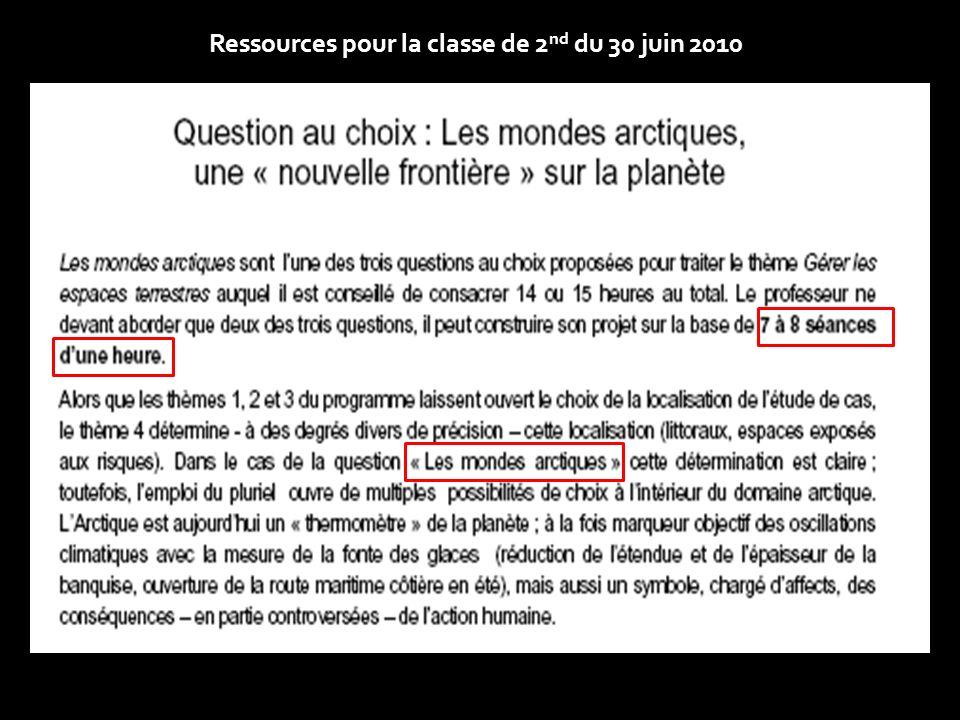 Ressources pour la classe de 2 nd du 30 juin 2010