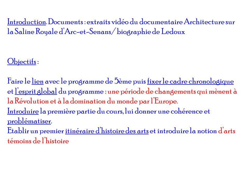 Introduction. Documents : extraits vidéo du documentaire Architecture sur la Saline Royale dArc-et-Senans/ biographie de Ledoux Objectifs : Faire le l