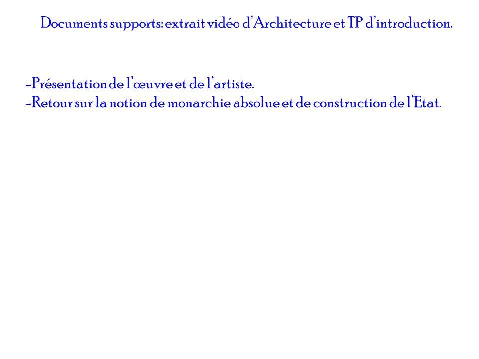 Documents supports: extrait vidéo dArchitecture et TP dintroduction. -Présentation de lœuvre et de lartiste. -Retour sur la notion de monarchie absolu