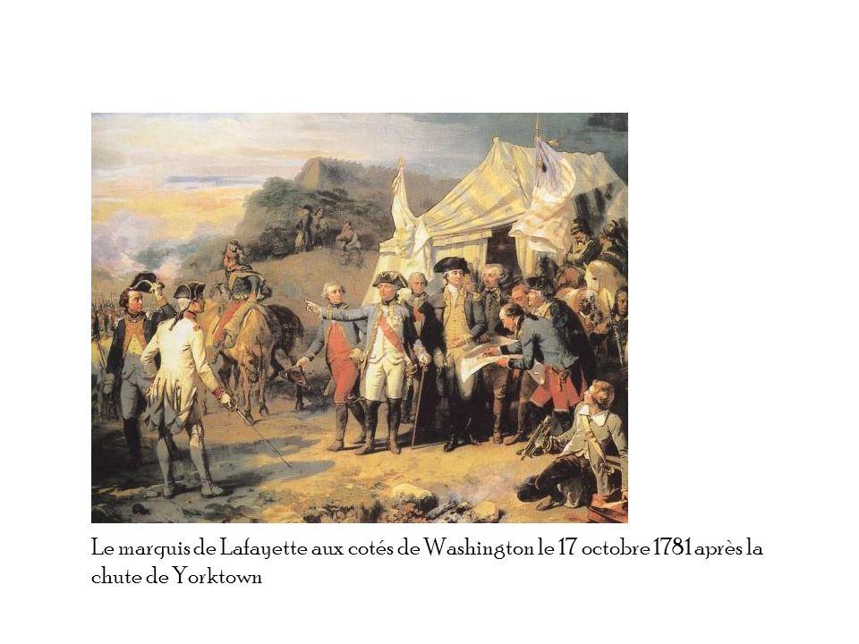 Le marquis de Lafayette aux cotés de Washington le 17 octobre 1781 après la chute de Yorktown