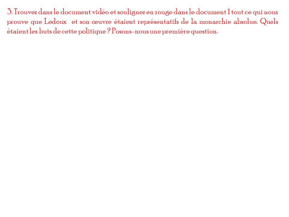 3. Trouvez dans le document vidéo et soulignez en rouge dans le document 1 tout ce qui nous prouve que Ledoux et son œuvre étaient représentatifs de l