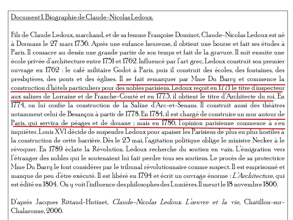 Document 1. Biographie de Claude-Nicolas Ledoux. Fils de Claude Ledoux, marchand, et de sa femme Françoise Dominot, Claude-Nicolas Ledoux est né à Dor