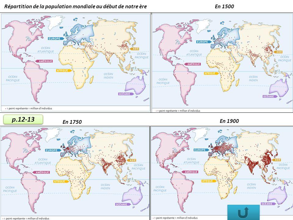 Répartition de la population mondiale au début de notre èreEn 1500 En 1900 En 1750 p.12-13