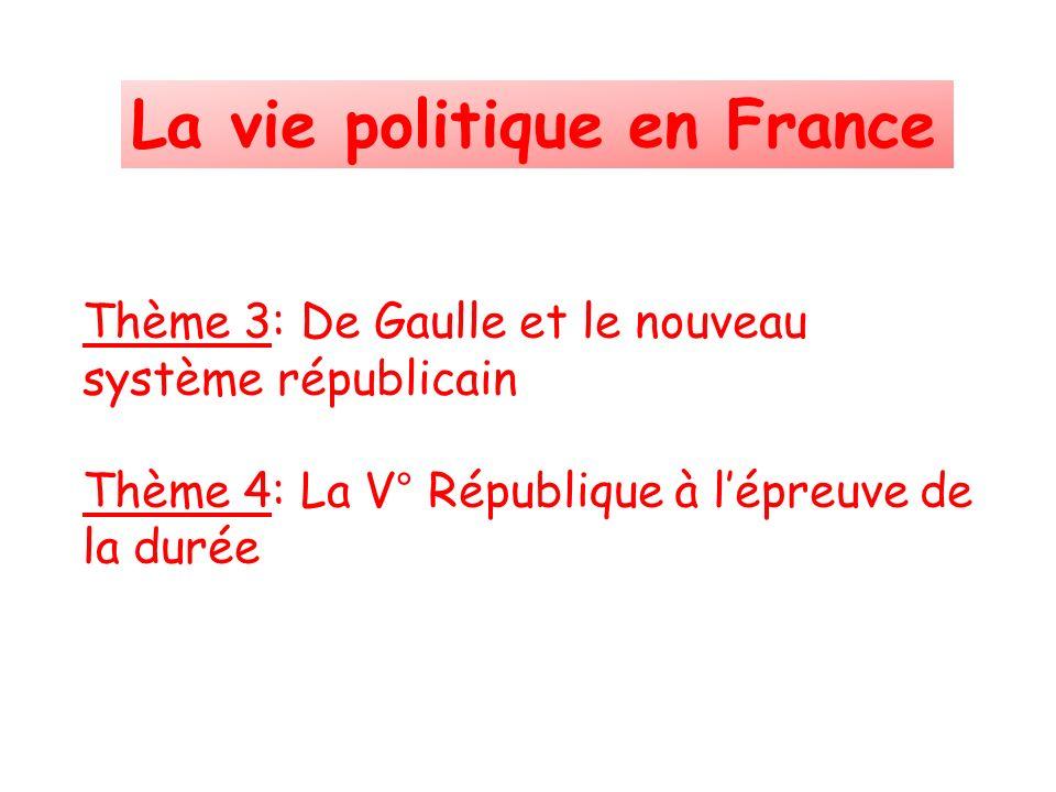 Thème 3: De Gaulle et le nouveau système républicain Thème 4: La V° République à lépreuve de la durée La vie politique en France