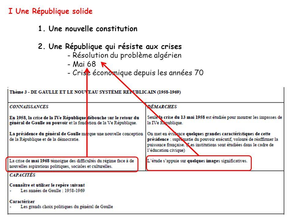 I Une République solide 1. Une nouvelle constitution 2. Une République qui résiste aux crises - Résolution du problème algérien - Mai 68 - Crise écono
