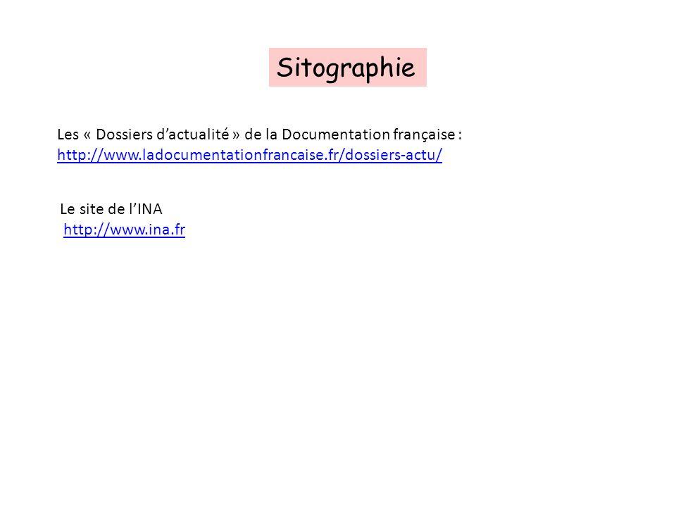 Sitographie Les « Dossiers dactualité » de la Documentation française : http://www.ladocumentationfrancaise.fr/dossiers-actu/ Le site de lINA http://w