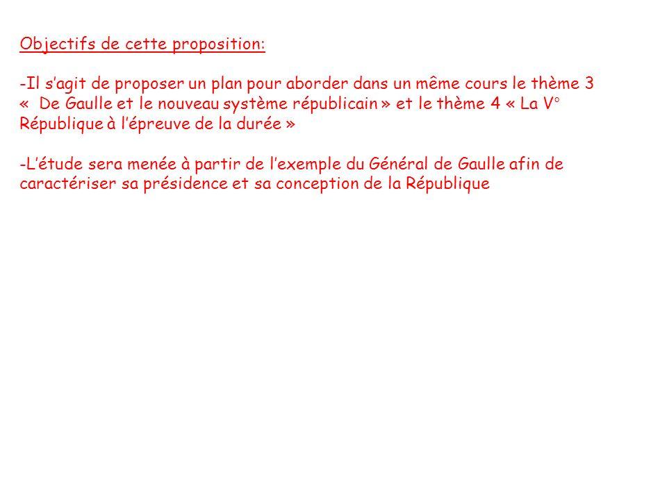 Objectifs de cette proposition: -Il sagit de proposer un plan pour aborder dans un même cours le thème 3 « De Gaulle et le nouveau système républicain