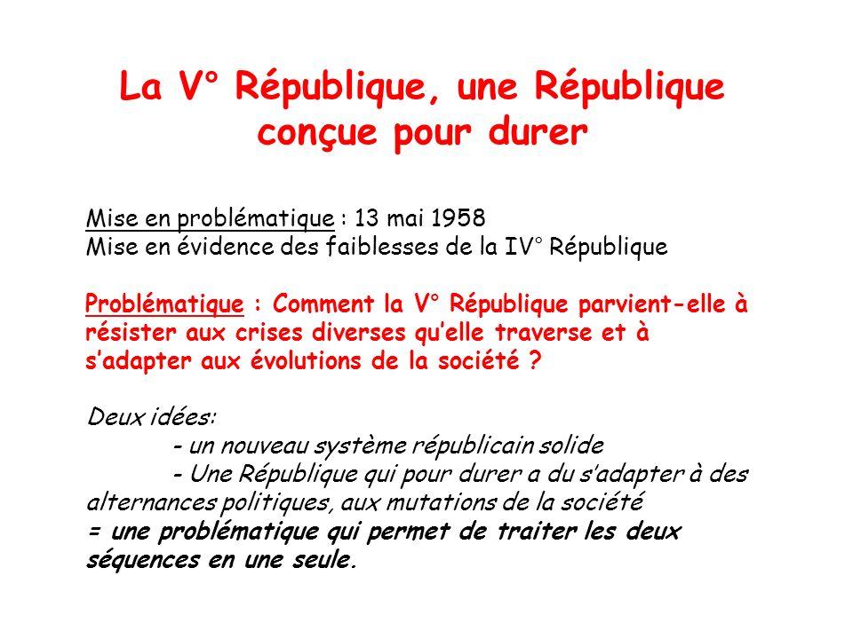 La V° République, une République conçue pour durer Mise en problématique : 13 mai 1958 Mise en évidence des faiblesses de la IV° République Problémati