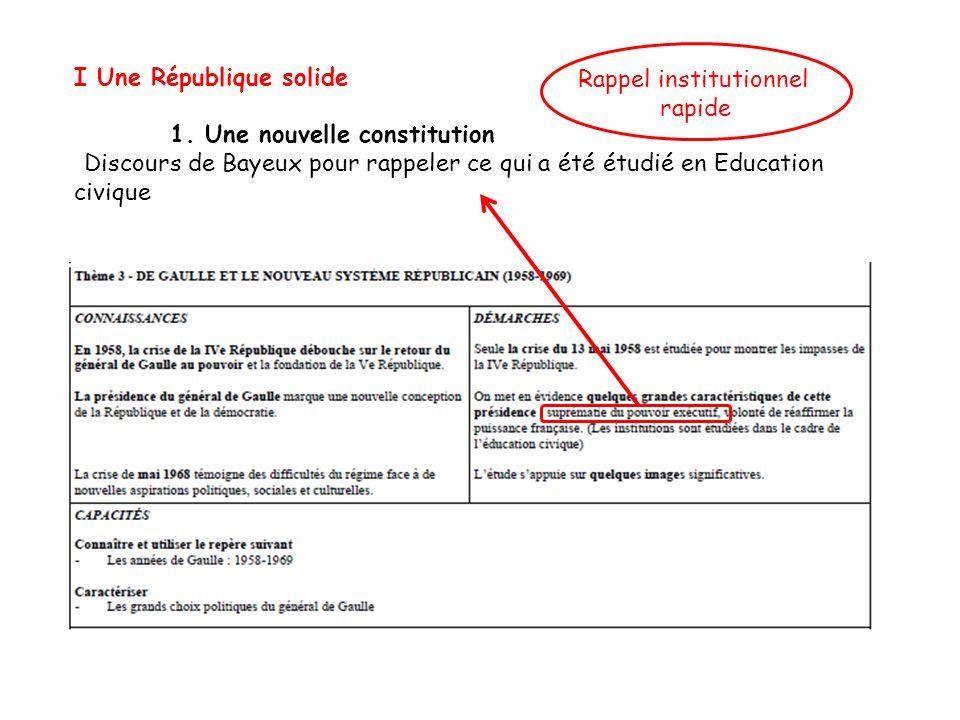 I Une République solide 1. Une nouvelle constitution Discours de Bayeux pour rappeler ce qui a été étudié en Education civique Rappel institutionnel r
