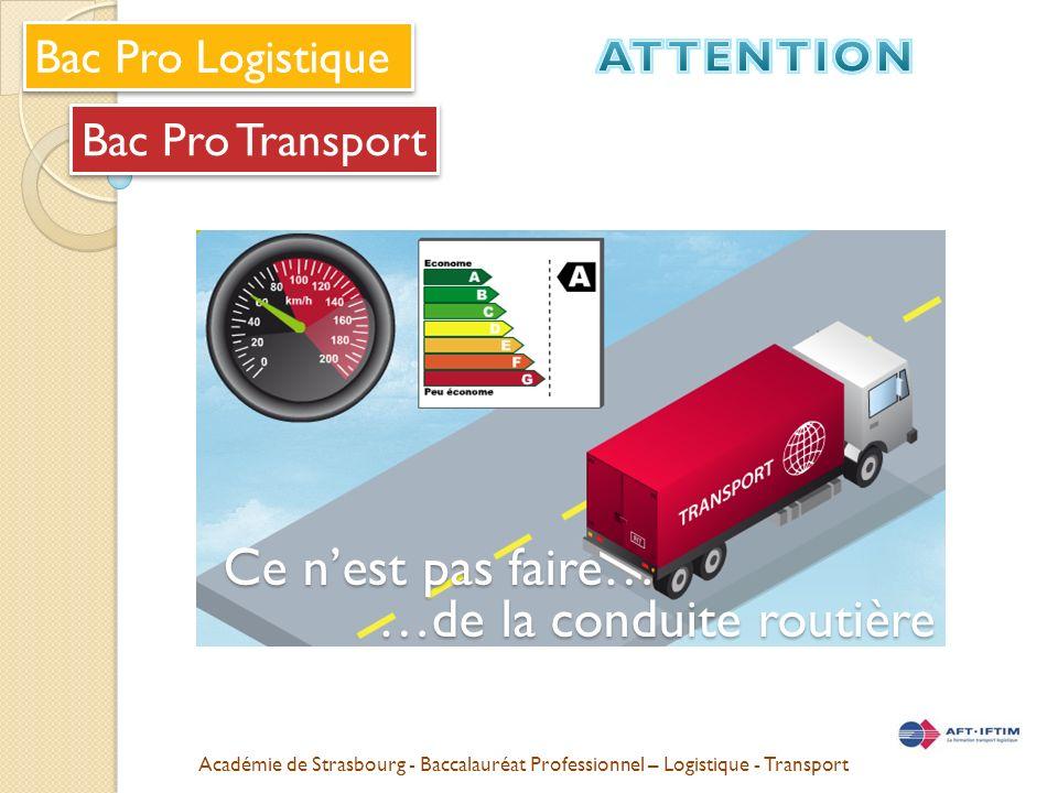 Académie de Strasbourg - Baccalauréat Professionnel – Logistique - Transport Bac Pro Transport Bac Pro Logistique Ce nest pas faire… …de la conduite routière