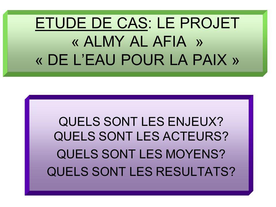 ETUDE DE CAS: LE PROJET « ALMY AL AFIA » « DE LEAU POUR LA PAIX » QUELS SONT LES ENJEUX? QUELS SONT LES ACTEURS? QUELS SONT LES MOYENS? QUELS SONT LES