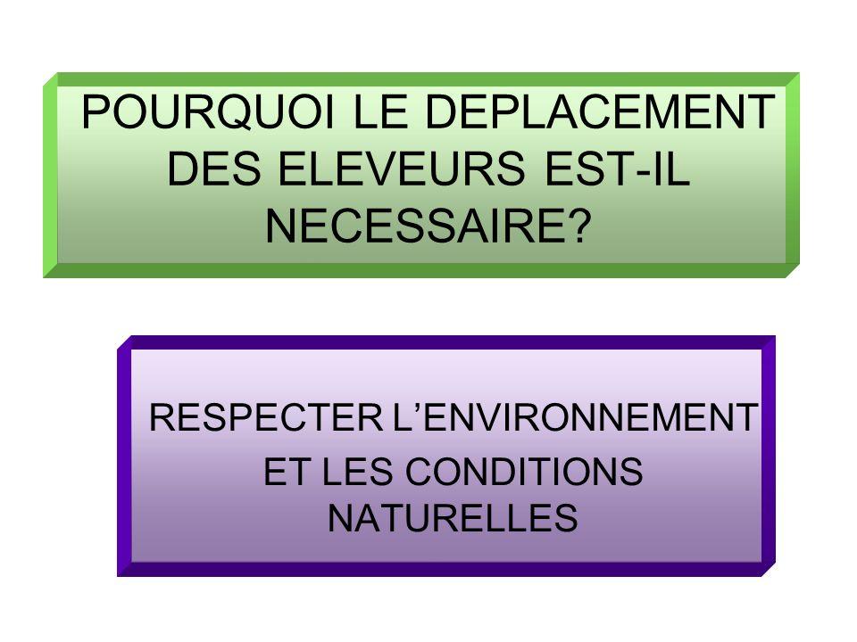 POURQUOI LE DEPLACEMENT DES ELEVEURS EST-IL NECESSAIRE? RESPECTER LENVIRONNEMENT ET LES CONDITIONS NATURELLES