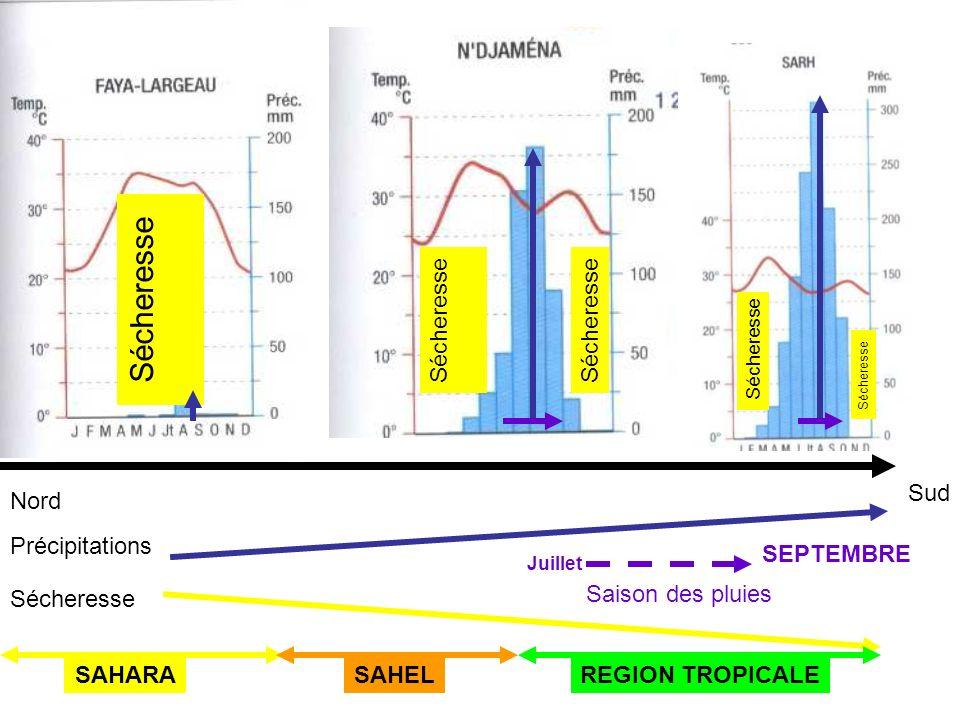 Nord Sud Sécheresse Précipitations Sécheresse SAHARAREGION TROPICALESAHEL Juillet SEPTEMBRE Saison des pluies