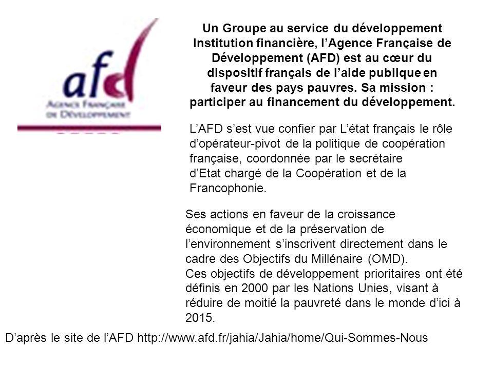 Un Groupe au service du développement Institution financière, lAgence Française de Développement (AFD) est au cœur du dispositif français de laide pub