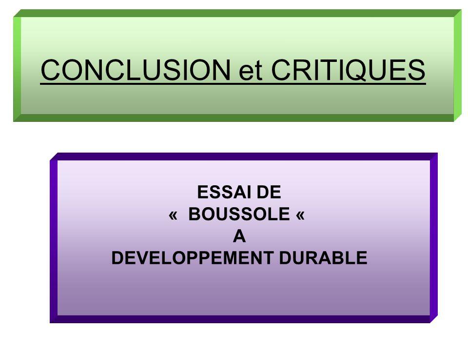CONCLUSION et CRITIQUES ESSAI DE « BOUSSOLE « A DEVELOPPEMENT DURABLE