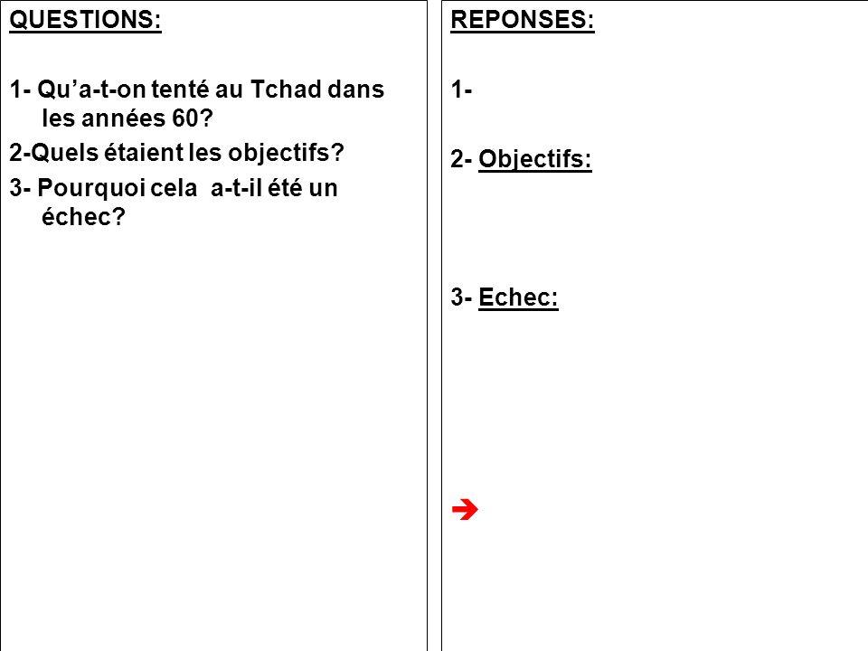 QUESTIONS: 1- Qua-t-on tenté au Tchad dans les années 60? 2-Quels étaient les objectifs? 3- Pourquoi cela a-t-il été un échec? REPONSES: 1- 2- Objecti