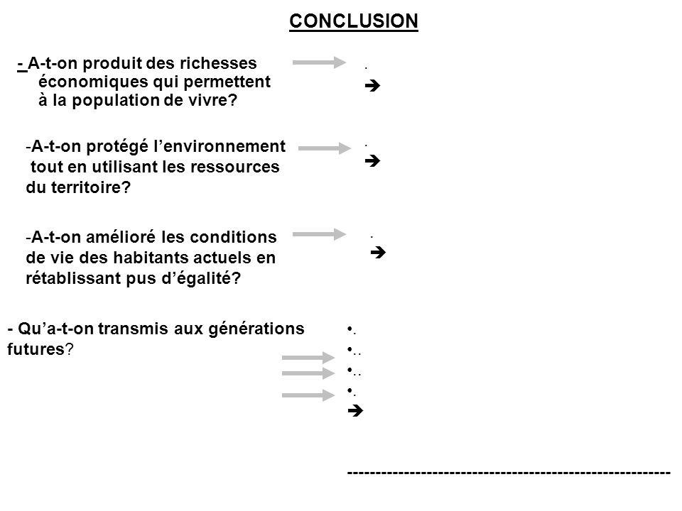CONCLUSION - A-t-on produit des richesses économiques qui permettent à la population de vivre?. -A-t-on protégé lenvironnement tout en utilisant les r