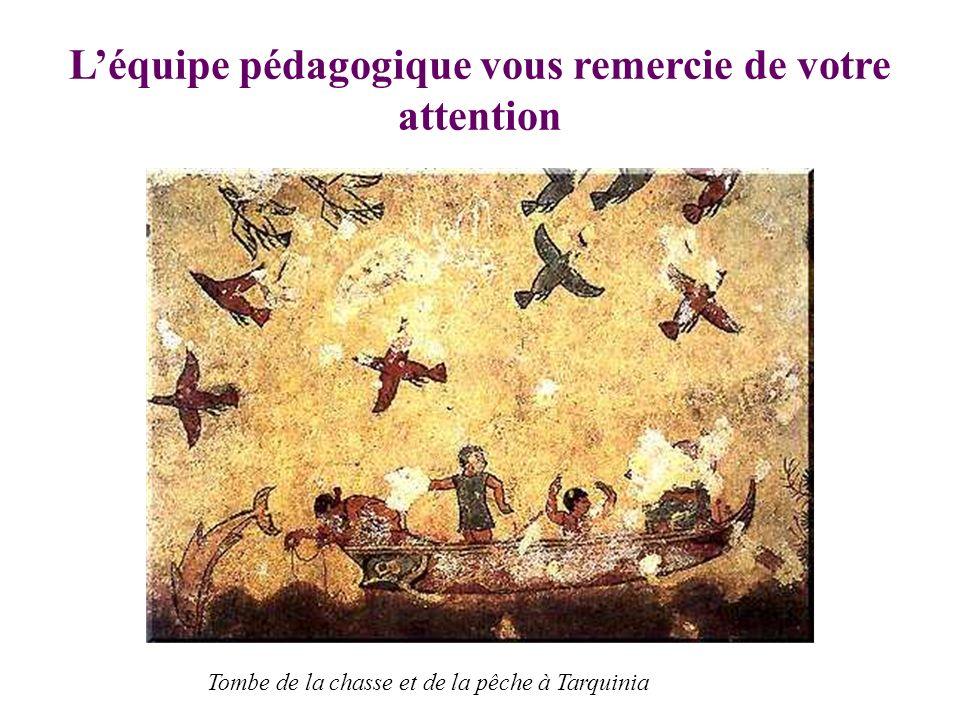 Léquipe pédagogique vous remercie de votre attention Tombe de la chasse et de la pêche à Tarquinia