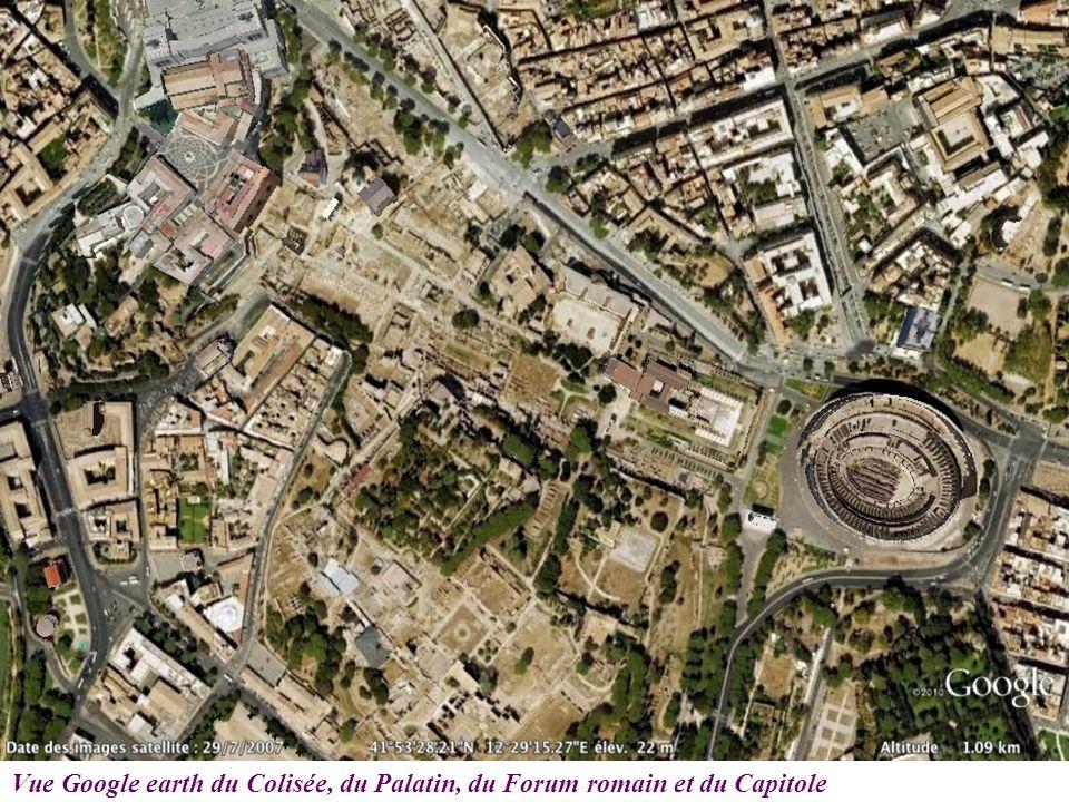 Vue Google earth du Colisée, du Palatin, du Forum romain et du Capitole
