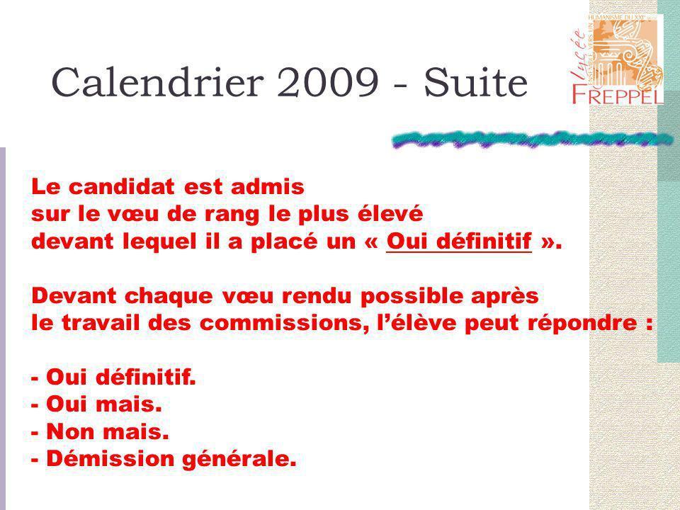 Calendrier 2009 - Suite Le candidat est admis sur le vœu de rang le plus élevé devant lequel il a placé un « Oui définitif ».
