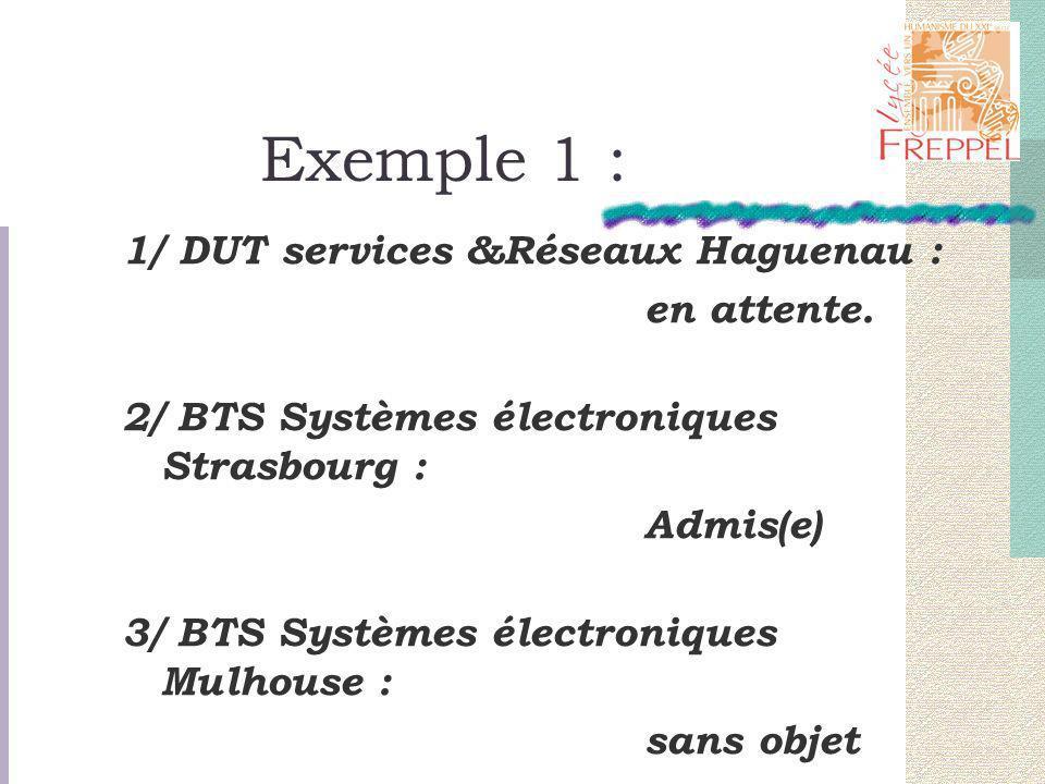 Exemple 1 : 1/ DUT services &Réseaux Haguenau : en attente.