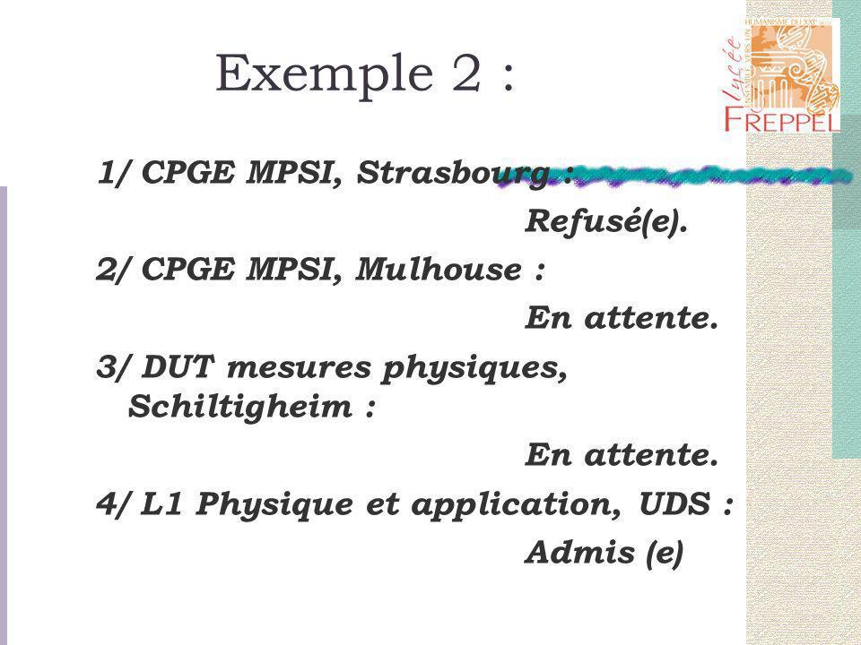 Exemple 2 : 1/ CPGE MPSI, Strasbourg : Refusé(e). 2/ CPGE MPSI, Mulhouse : En attente. 3/ DUT mesures physiques, Schiltigheim : En attente. 4/ L1 Phys