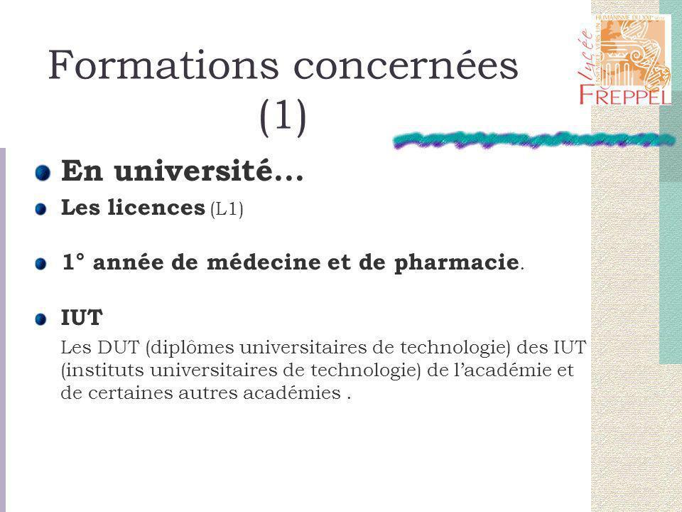 Formations concernées (1) En université... Les licences (L1) 1° année de médecine et de pharmacie.
