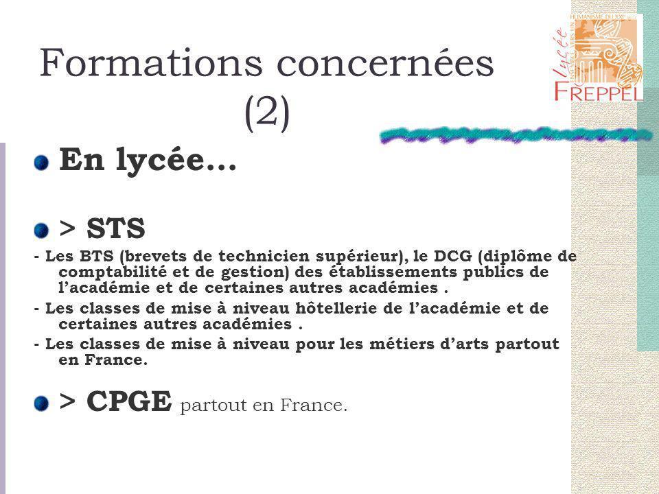 Formations concernées (2) En lycée... > STS - Les BTS (brevets de technicien supérieur), le DCG (diplôme de comptabilité et de gestion) des établissem