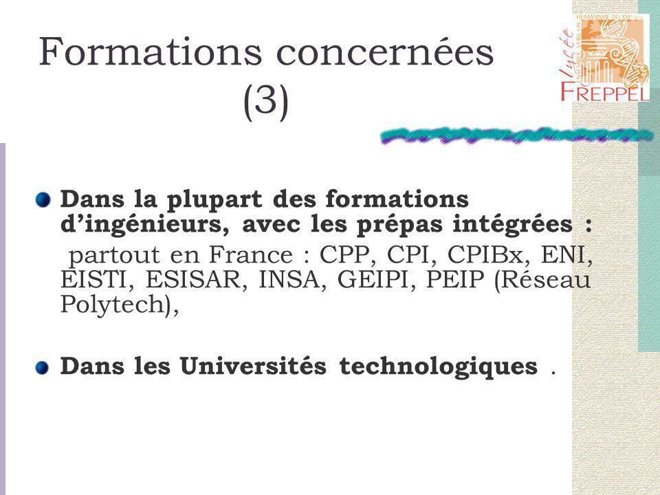 Formations concernées (3) Dans la plupart des formations dingénieurs, avec les prépas intégrées : partout en France : CPP, CPI, CPIBx, ENI, EISTI, ESISAR, INSA, GEIPI, PEIP (Réseau Polytech), Dans les Universités technologiques.