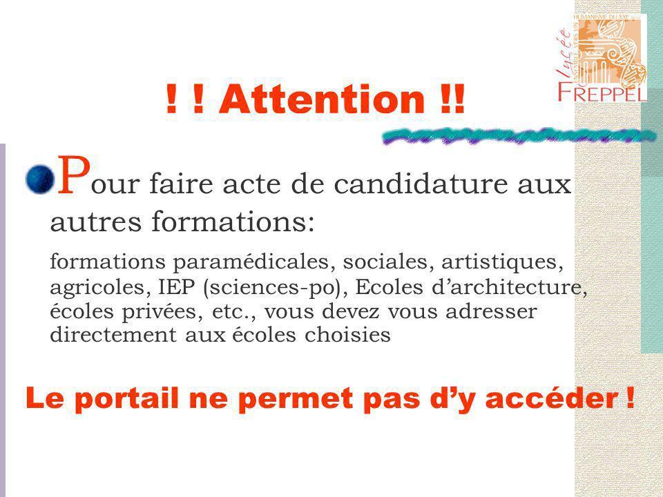 Exemple 2 : 1/ CPGE MPSI, Strasbourg : Refusé(e).2/ CPGE MPSI, Mulhouse : En attente.