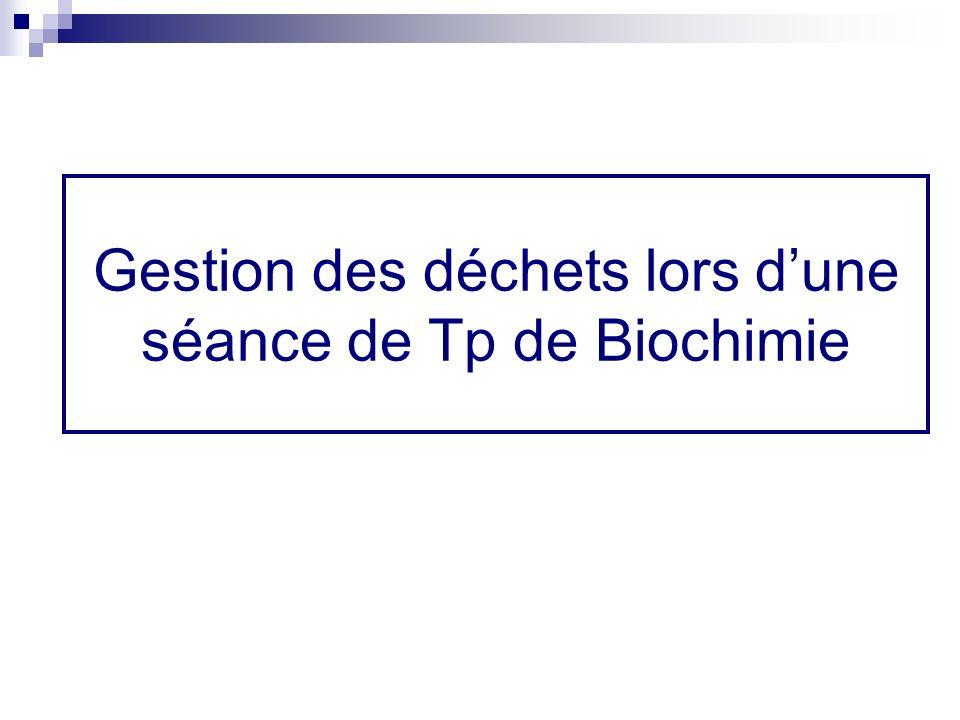 Gestion des déchets lors dune séance de Tp de Biochimie
