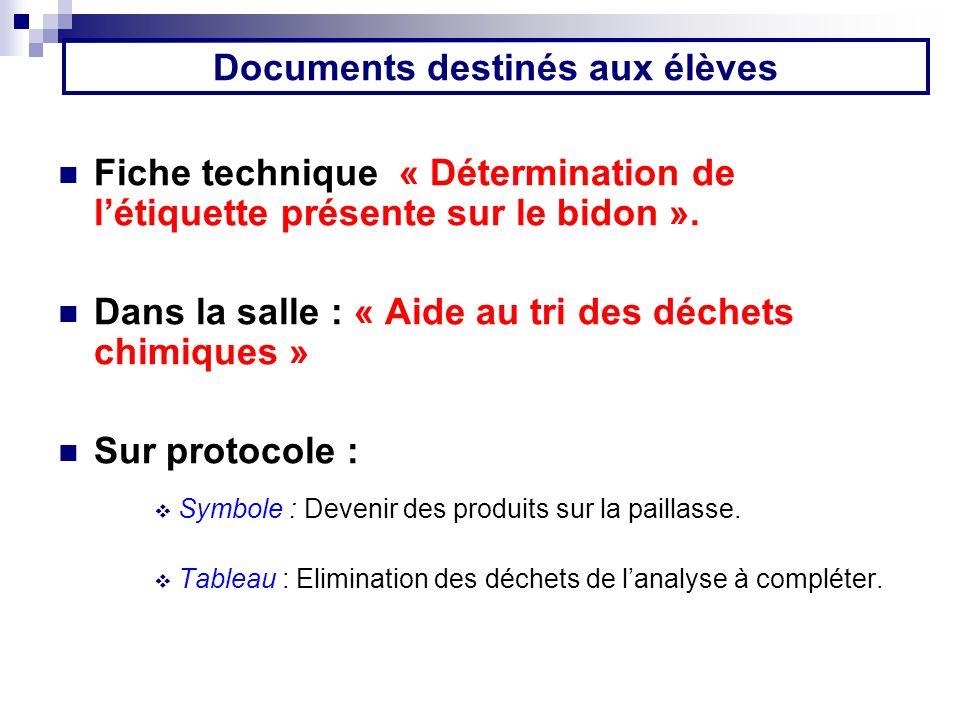Documents destinés aux élèves Fiche technique « Détermination de létiquette présente sur le bidon ». Dans la salle : « Aide au tri des déchets chimiqu